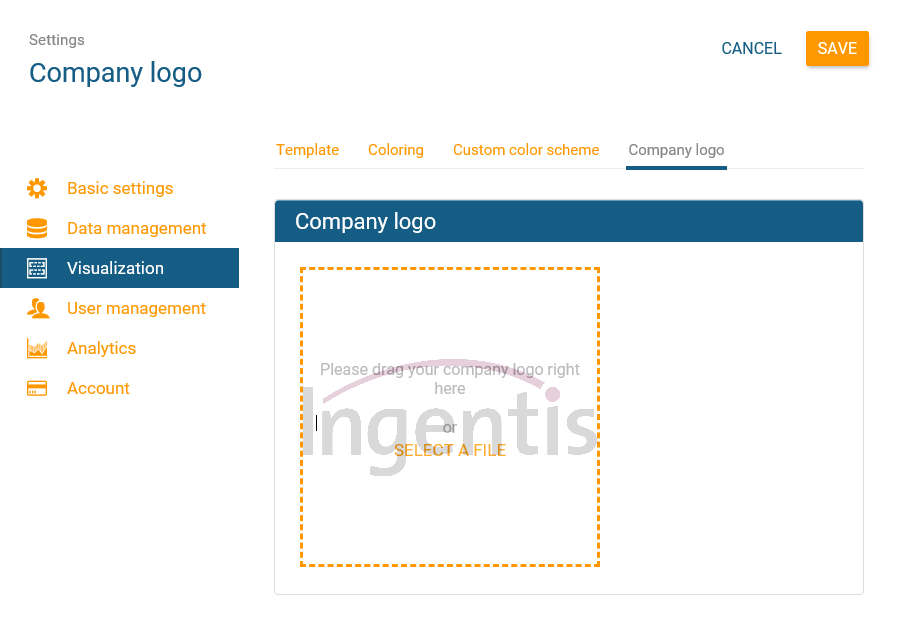 Upload company logo to orginio