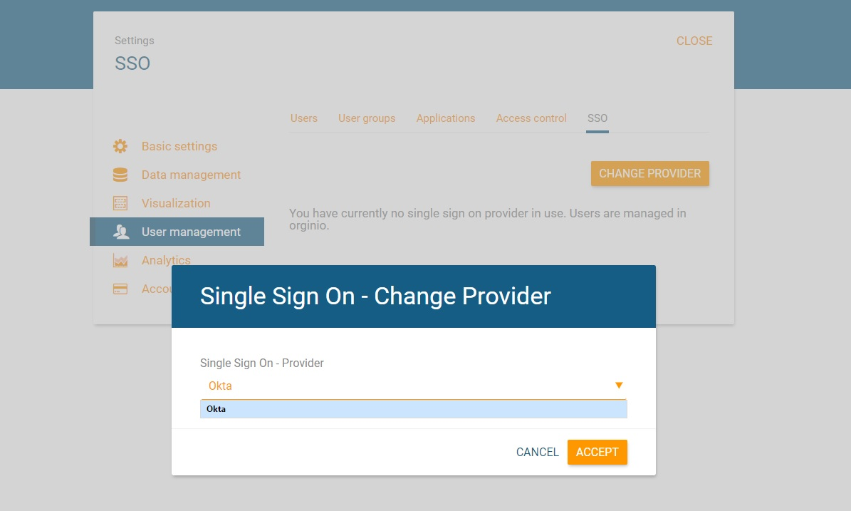 Select Single Sign-On provider