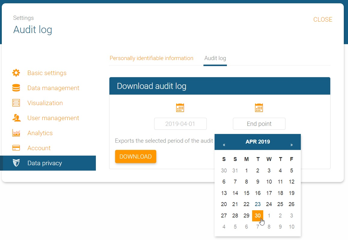 Audit log in orginio start and end point