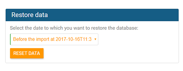 Select date for data recovery